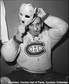 The famous mask that helped start it all. That's old time hockey ...