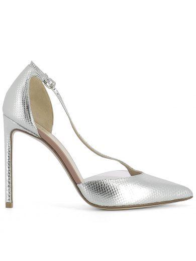 FRANCESCO RUSSO Silver Leather Pump. #francescorusso #shoes #silver-leather-pump