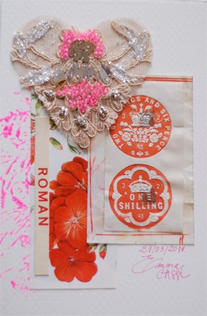 <3Emma Cassi - Handmade card for the Charity exhibition at Galerie Doux dimanche in Tokyo.