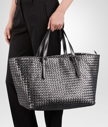 BOTTEGA VENETA LARGE TOTE BAG IN ARGENTO OSSIDATO INTRECCIATO GROS GRAIN Top Handle Bag D ap