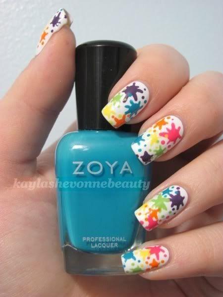 Nail Art Tutorial - Rainbow Splatter