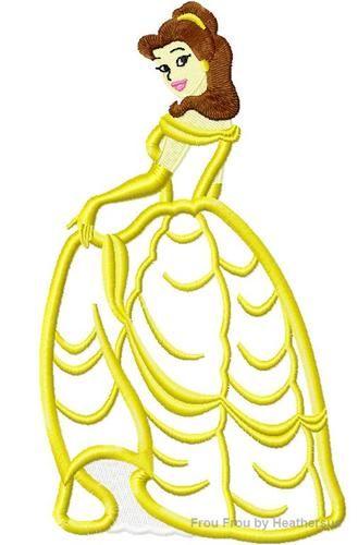 Bella Full Body Princess Machine Applique Embroidery Design, Multiple sizes including 4 inch
