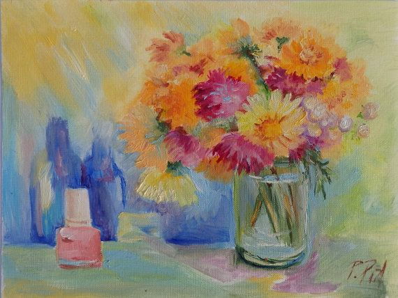Autumn FLOWERS Classic Still life Oil sketch by CanisArtStudio #FloralArt #OilPainting #Impressionism
