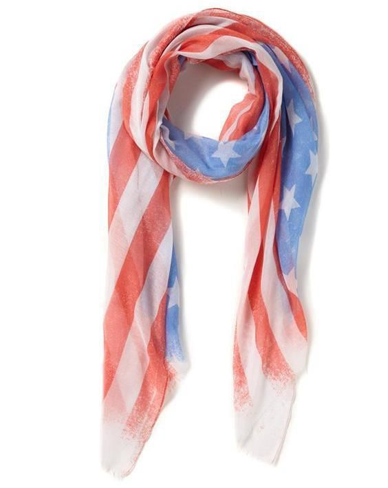 Scarf American Flag COTTON ON Pascale Print HUGE NWT #CottonOn #Scarf #CasualPatriotic