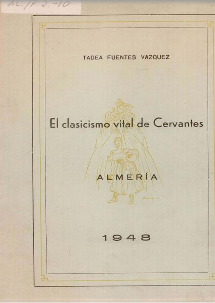Tadea Fuentes. Folleto sobre Cervantes. Portada