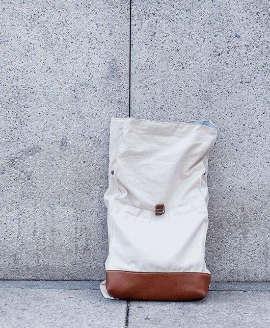 Tutoriales DIY: Cómo hacer una mochila de tela estilo Roll-Top vía DaWanda.com