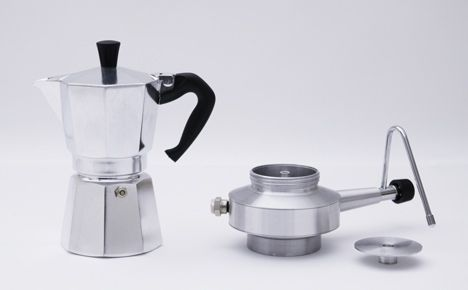 Milk Brother by Po-Chih Lai - an add-on for a stove-top coffee pot that uses pressurized steam to froth up the milk