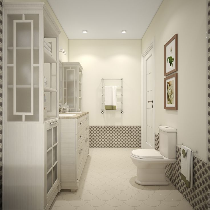 Для ванной комнаты выбрана спокойная бежево-коричневая гамма.