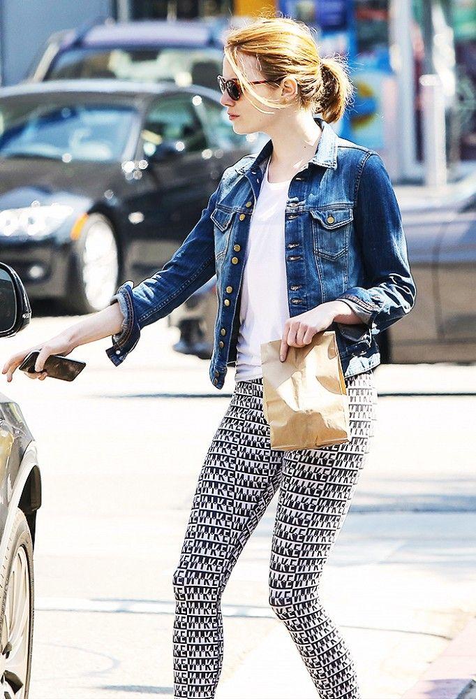 Emma Stone in Boston Proper denim jacket , white tee, and Nike Printed Cropped leggings