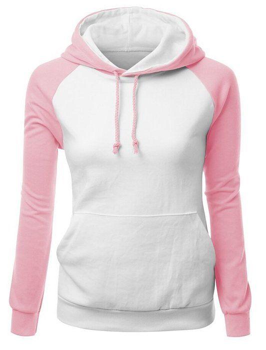 SMITHROAD Damen Hoodie Kapuzenpullover Sweatshirt mit Kapuze und Kordelzug Hooded Sweater Langarm Weiß Rosa XL