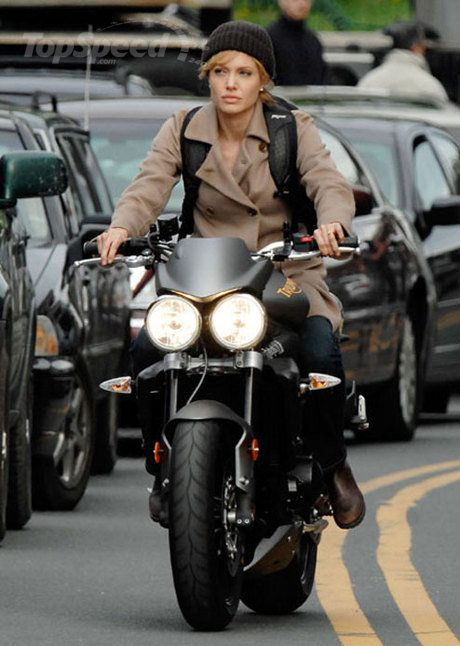 Angelina Jolie on a Triumph Street Triple R.