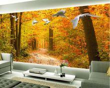 Beibehang moda Moderno papel de parede papel de parede papel de parede para paredes 3d bonito do outono floresta caminho alce pomba do fundo da parede(China)