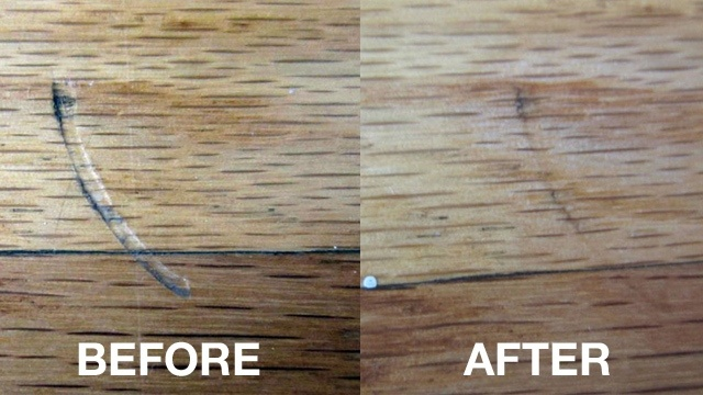 Use an Iron on Hardwood  Remove scratches and dents with an iron.   Find out more at Life Hacker.