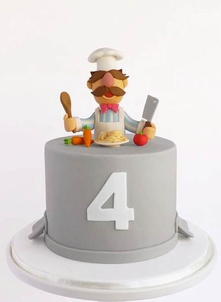 Swedish Chef (Muppets) cake -- love how the cake base is an overturned stewpot!  :)  (Sunday Sweets: Dragon ConTreats)