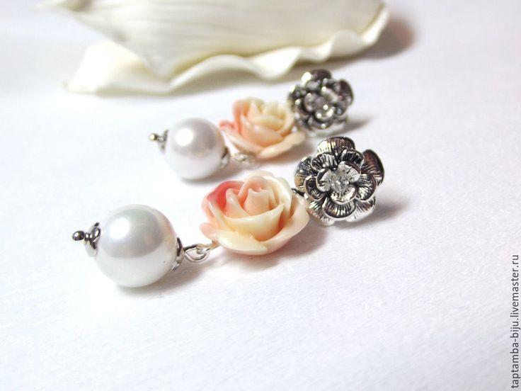 Серьги Коралловая роза. Rose earrings.
