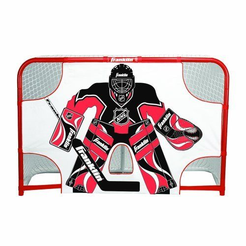 """NHL Championship Goal Shooting Target, 44-Inch x 54-Inch by Franklin. $25.67. Our Franklin Sports SX Pro Championship Shooting Target is designed for play with ice/roller hockey pucks. The target features a realistic full-size goalie graphic image and clearly defined shooting target holes. This target has extra heavy weight 600D waterproof construction and rugged 2"""" wide heavy weight adjustable self-stick straps for a secure fit. Fits goal size 54"""" wide X 44"""" high."""