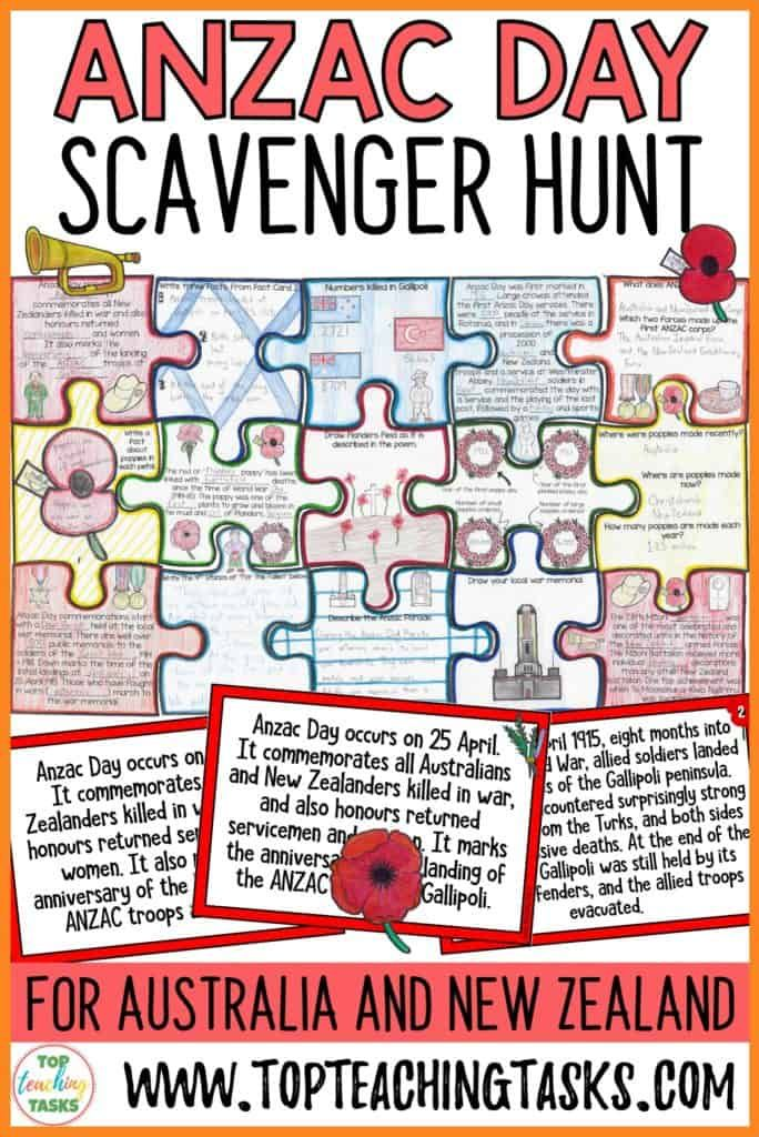 Anzac Day Scavenger Hunt Reading Puzzle Top Teaching Tasks In 2020 Anzac Day Higher Order Thinking Skills Reading Comprehension Skills