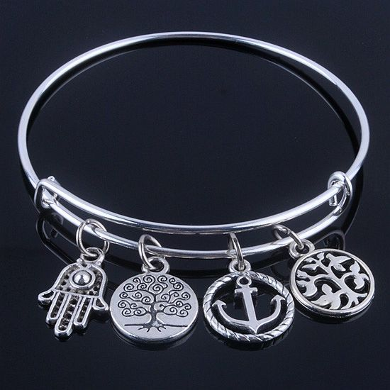 plated silver bracelets with anchor & life trees charms //Price: $7.99 & FREE Shipping //     #stone #trendy