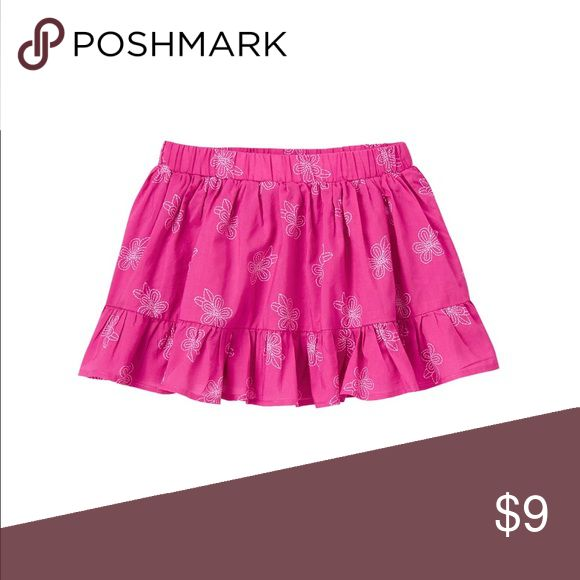 Girls Gymboree magenta floral skirt size 5T 100% cotton batiste Easy pull-on style Elastic waist Allover embroidery Above-the-knee length Gymboree Bottoms Skirts