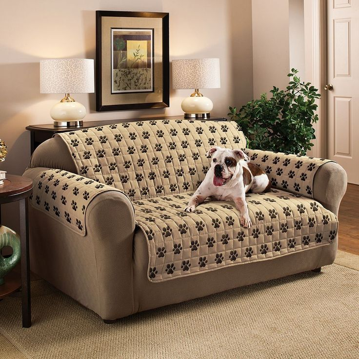Innovative Textile Solutions Paw Prints Microfiber Sofa Protector, Beig/Green (Beig/Khaki)