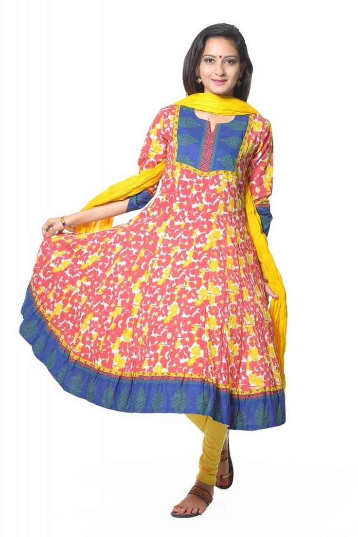 RED & YELLOW FLOWER PRINTED COTTON ANARKALI SUIT
