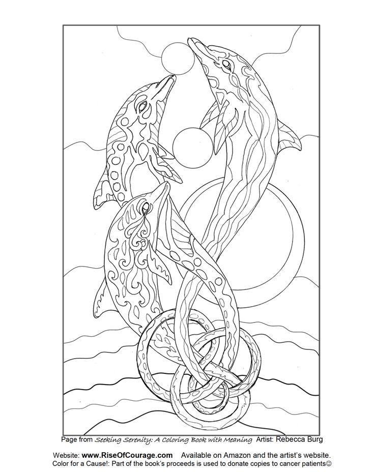 free coloring page dolphin ocean sea life from the seeking serenity adult coloring book by rebecca