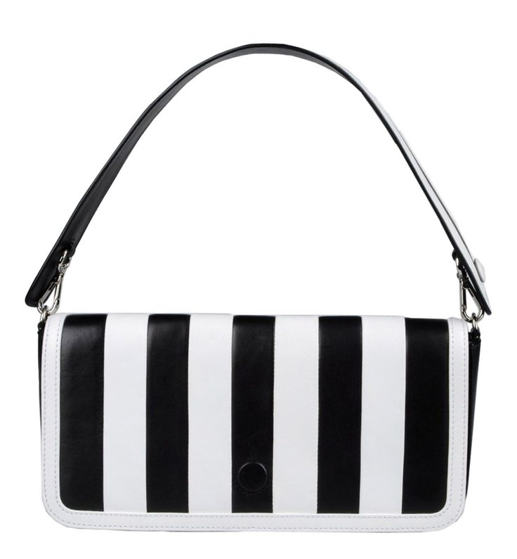 Shoulder bag in black and white for women by Moschino. http://www.zocko.com/z/JJ6RR