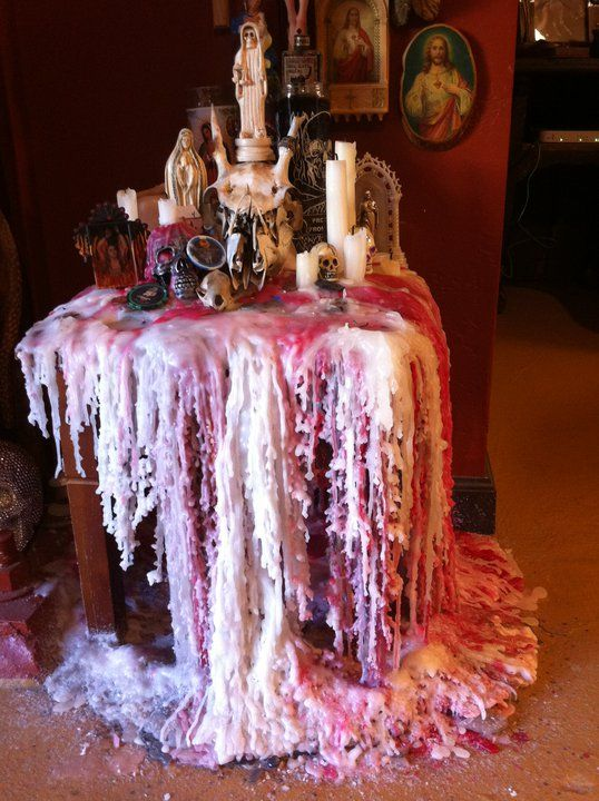 Melted Wax Forms The Altar Cloth Little Altars