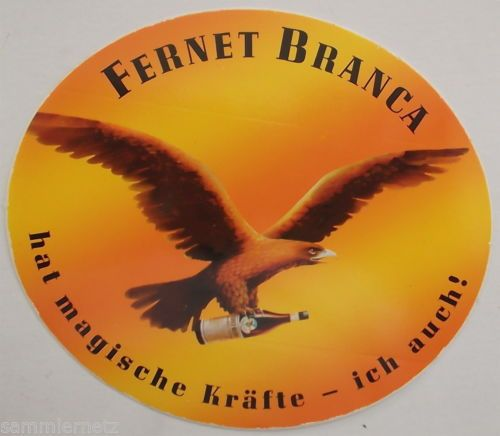 Aufkleber FERNET BRANCA hat magische Kräfte Magenbitter Sticker 80er Decal Italy