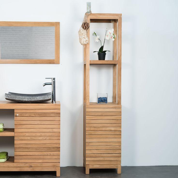 Cette colonne de salle de bain en teck apportera une touche d'élégance et de modernité à votre espace bain. Ce meuble de rangement se compose de trois niches et d'une porte en teck massif . Pour un esprit nature de votre salle de bain n'hésitez pas à consulter notre collection de meuble de salle de bain. Dimensions meuble Longueur : 40 cm Hauteur : 40 cm Profondeur : 180 cm