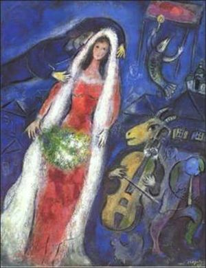 """La Mariée (French for """"The Bride"""") is a painting in oil on canvas, 68×53cm, created in 1950 by Russian-French artist Marc Chagall. It is presently held in a private collection in Japan."""