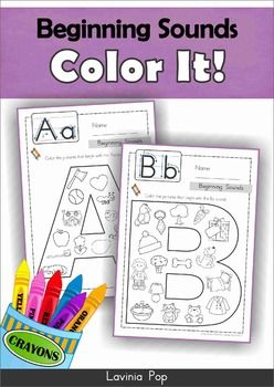 """Beginning Sounds - Color It!  *** US and Australian spelling included ***  These are very basic beginning sounds worksheets for children in Pre-K and Kindergarten (Prep). Children are asked to color the pictures that begin with the sound of the letter in focus. (I have included a second sheet for """"X"""" to focus on the ending sound.)  This is a winzip file and contains 2 pdf files that are each 34 pages in length."""