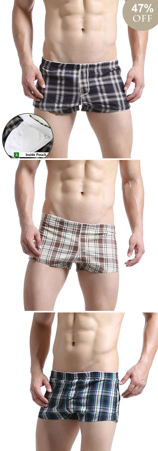 [Online Shopping] Inside Pouch  Cotton Boxer Briefs &Plaids Shorts #homestyle #homedecor  #menswear