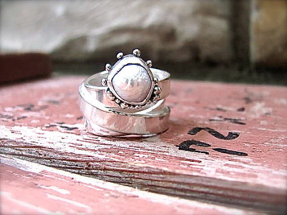 Silver Pearl Ring Wrap Ring Gypsy Love by DeliasStudioLimited