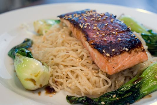 Soy Glazed Salmon with Sesame Noodles and Bok Choy | Recipe