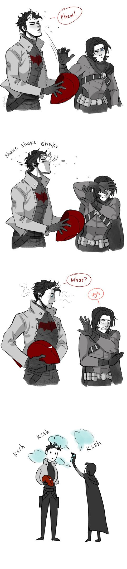 Jason and Tim by inkydandy Yup,Jason is very canine like.He's too wild to be tame like a dog,so he's more like a wolf.It even matches the Red Hood biker theme,Red Riding Hood.