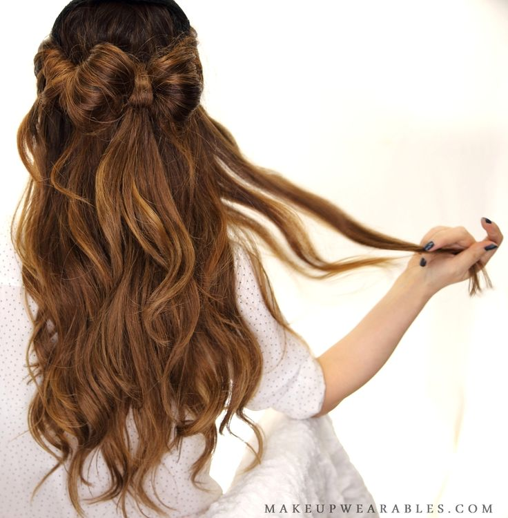 Half up half down hair bow updo hairstyle for school