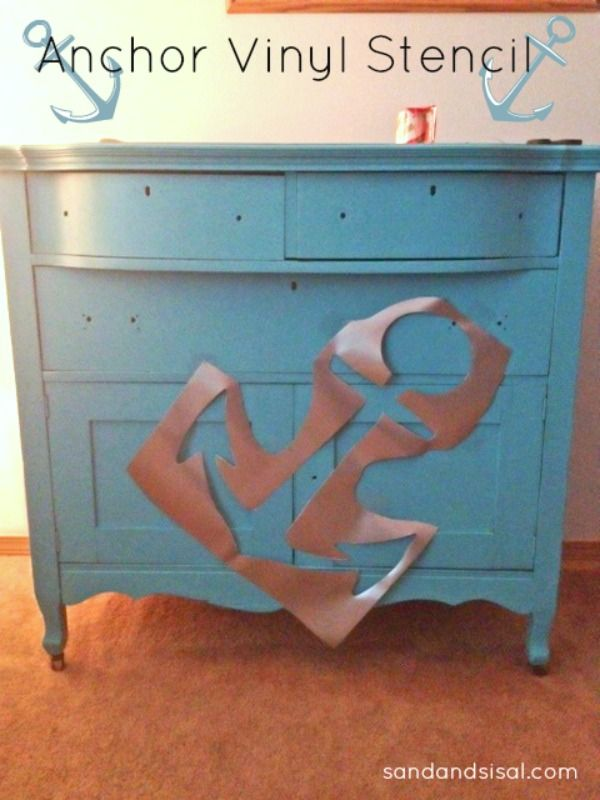 Coastal Cabinet Makeover - Anchor stencil