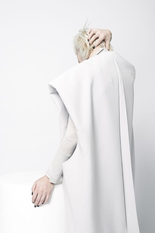 Minimal white dress with oversized proportions; contemporary fashion // Sarah Mok