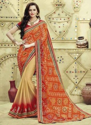 Orange And Maroon Printed Bandhani Georgette Mirror Hand Work Party Wear Sarees http://www.angelnx.com/Sarees