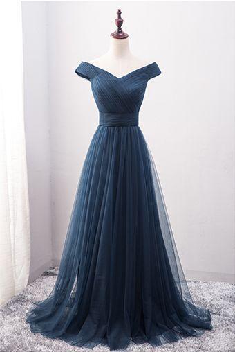 Navy Blue Prom Dress,Off the Shoulder Prom Dress,Custom Made Evening Dress,2017 high quality.