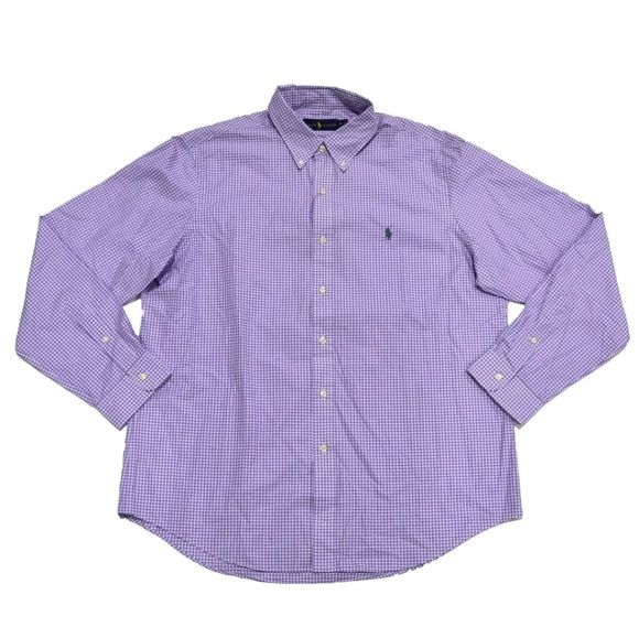 Shop Men's Polo by Ralph Lauren Purple Blue size L Casual Button Down Shirts at a discounted price at Poshmark. Description: Ralph Lauren- Purple Plaid Button-Down Shirt (L) New With Tags (MSRP $89.99) - Brand : Polo Ralph Lauren - Style : Button Front - Size : Large - Fabric : 100% Cotton - Design : Plaid - Color : Purple - Sleeves : Long sleeves with buttoned barrel cuffs - Logo : Signature Embroidered Pony (Blue) At the Left Chest - Features : Button-down point collar, Buttoned placke...