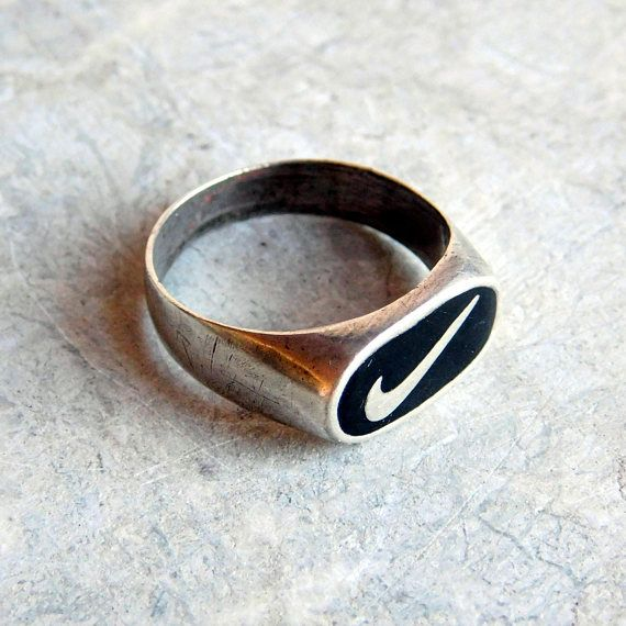 Vintage Sterling Silver Nike Ring With Black Enamel Nike Vintage Sterling Silver Vintage Sterling Silver Rings Black Enamel