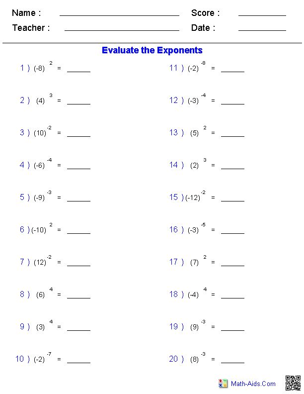 Math Worksheets For Middle School Students : Maths worksheets for high school on exponents google