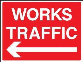 Works traffic - left arrow safety sign
