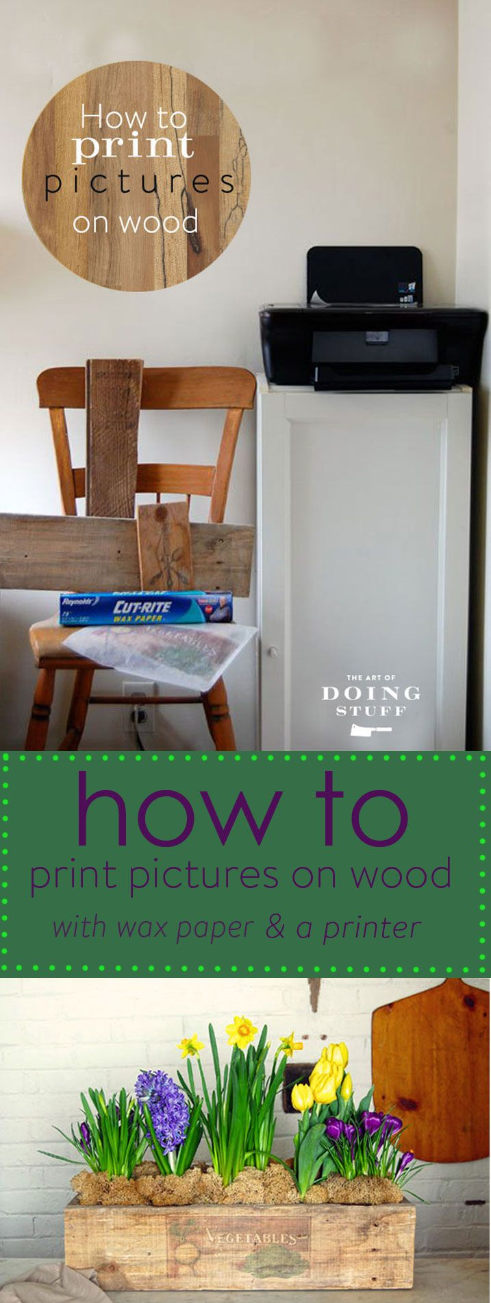 How to print pictures on wood with just wax paper and an inkjet printer. EASY and great results. The perfect DIY.