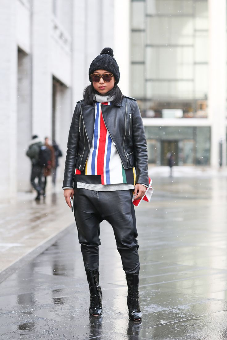 Below-Freezing NYC Street Style That's Still Fire #refinery29  http://www.refinery29.com/2015/02/82279/new-york-fashion-week-2015-street-style-pictures#slide-2  Margaret Zhang bringing back the drop-crotch. Dion Lee jacket, Camilla and Marc pants, Givenchy boots.