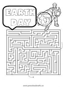 printable happy earth day mazes worksheets for kids