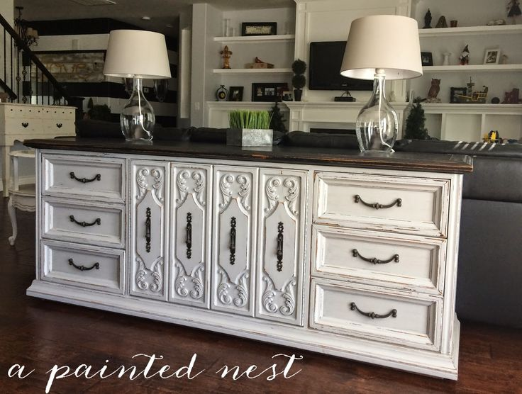 a painted nest refinished buffet entertainment center love the light gray and black combo www. Black Bedroom Furniture Sets. Home Design Ideas