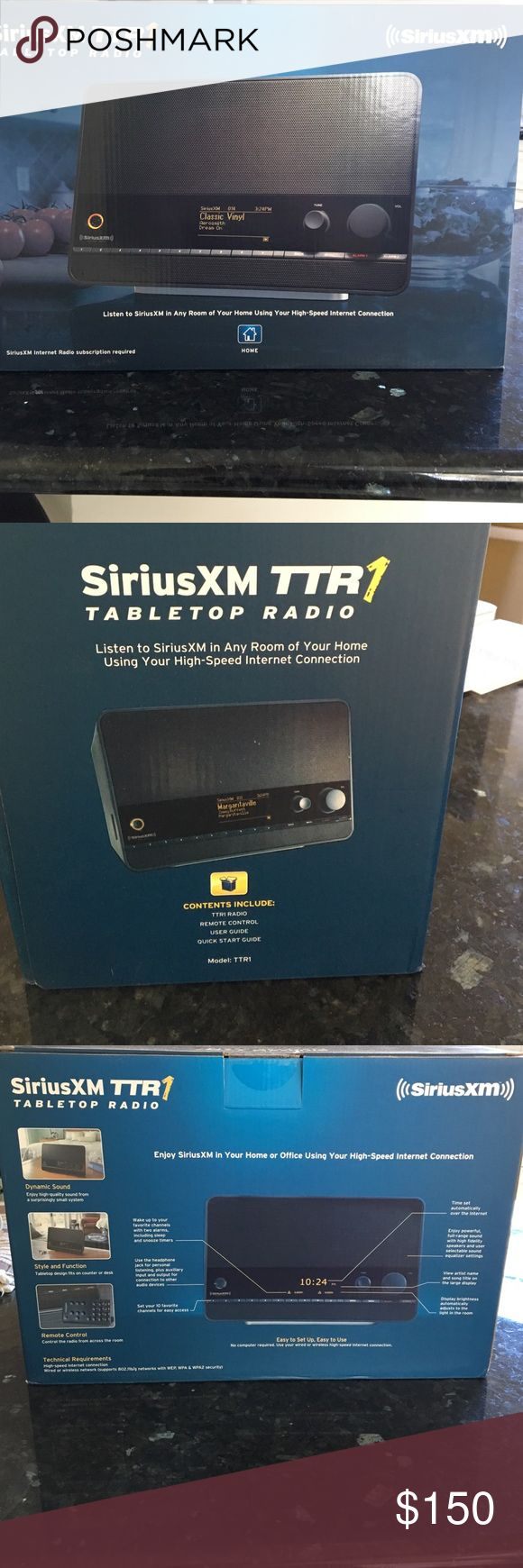 SiriusXM TTR table top radio Brand New!! SiriusXM TTR table top radio.  Includes TTR1 radio, remote control, user guide and quick start guide.  Sirius internet radio subscription required. SiriusXM Other